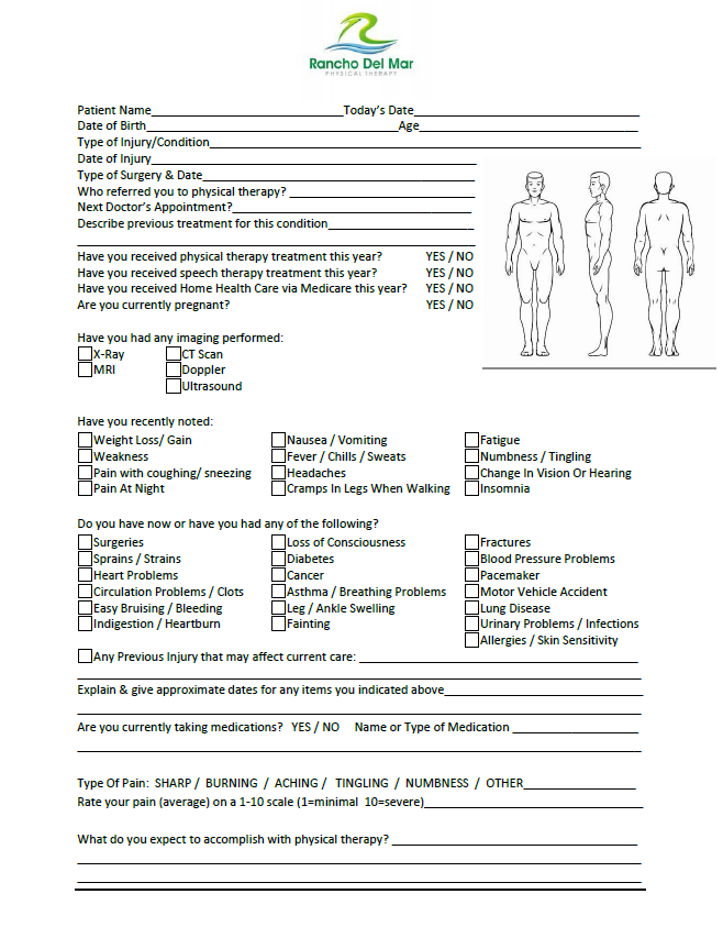 Patient Forms – RanchoDelmarPT on health care patient forms, physical therapy mission statement, physical therapy chiropractic, urgent care patient forms, physical therapy newsletter, physical therapy before and after, physical therapy home, physical therapy appointment, psychiatry patient forms, physical therapy health history form, physical therapy follow up form, ct scan patient forms, physical therapy staff, physical therapy education, physical therapy doctors, physical therapy treatments, physical evaluation form, physical therapy technology, physical therapy employment, ob gyn patient forms,